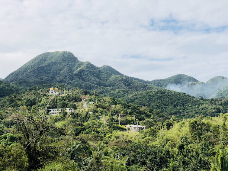 Hiking Montserrat: View of the Mountain above Mongo Hill in St John's area.