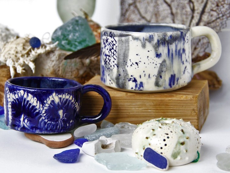 Touch By VLS: Urchin Collection_Cobalt Decorative Mugs. Photo Credit: © Caribbean Export Development Agency.
