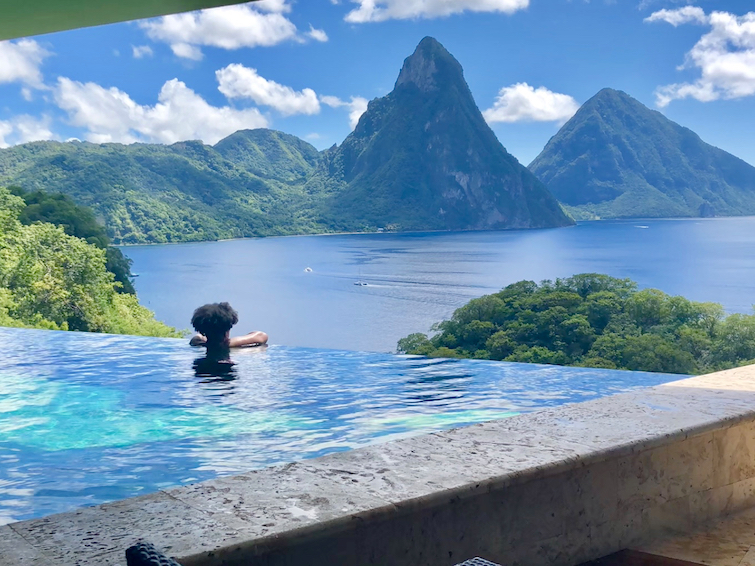 UB in infinity Pool at Jade Mountain Resort in Saint Lucia looking at The Pitons.