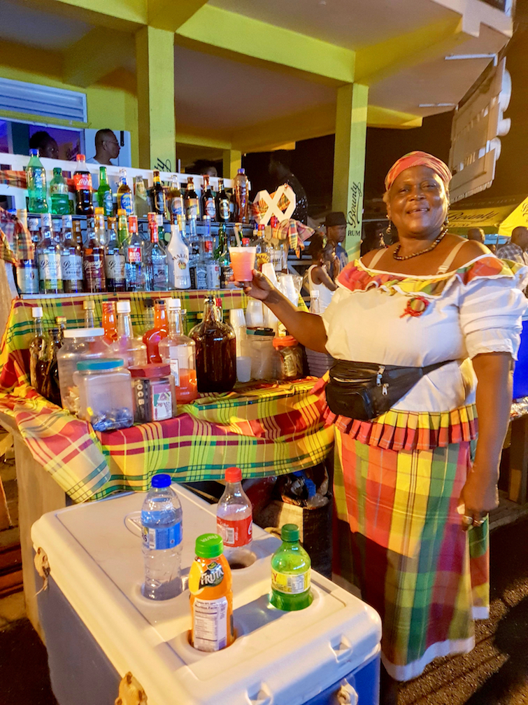 Vendor at Gros Islet Street Party in Saint Lucia.