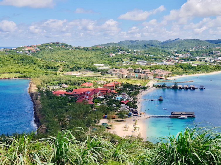 View of Sandals Grande St. Lucian Spa & Beach Resort while hiking in Pigeon Island National Park.
