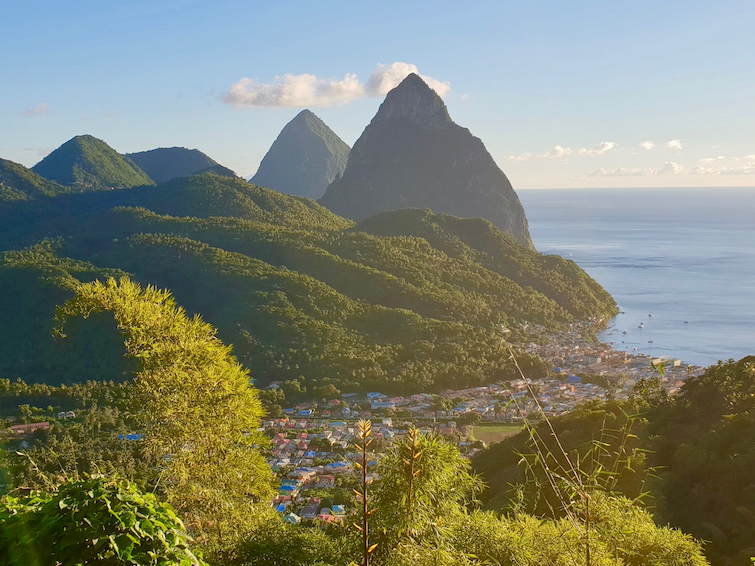View of The Pitons driving towards town of Soufrière in Saint Lucia.
