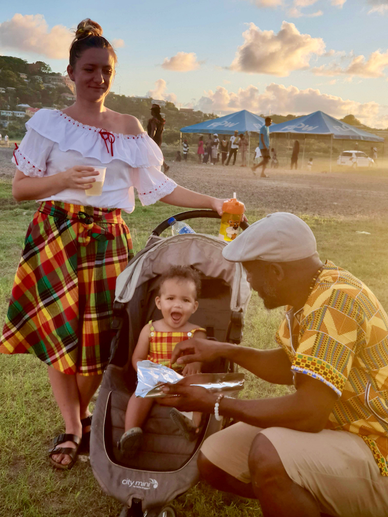 Young family at Vieux Fort Creole Day celebrations in Saint Lucia.
