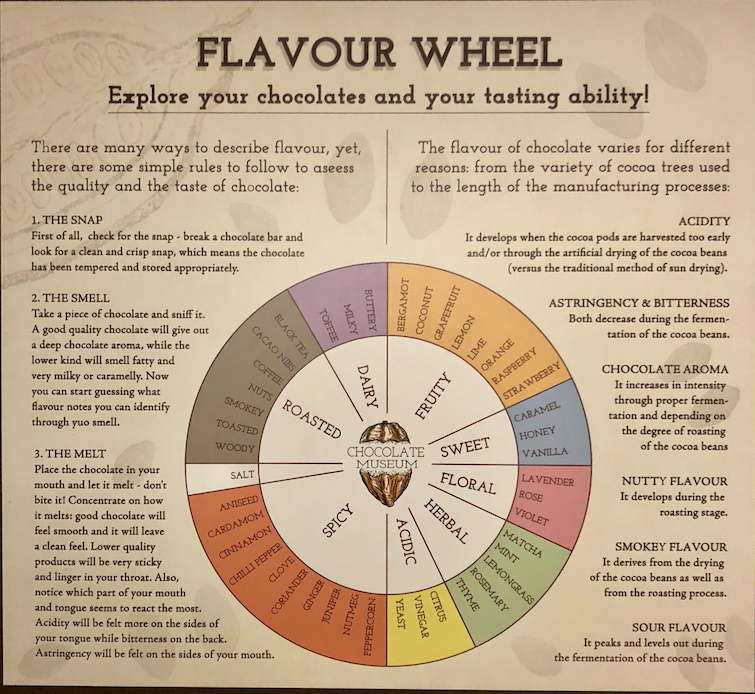 Chocolate Museum in London: Chocolate Flavor Wheel.