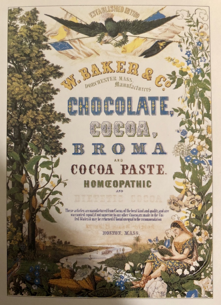 History of Chocolate: Photo of 19th-century advertisement from Walter Baker Company promoting health related chocolate products.