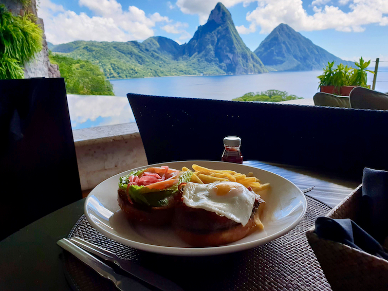 Jade Mountain Resort in Saint Lucia: Burger lunch while taking in the view from Sanctuary JE2.