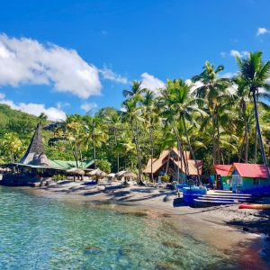Wide angle view of Anse Chastanet Beach in St Lucia.