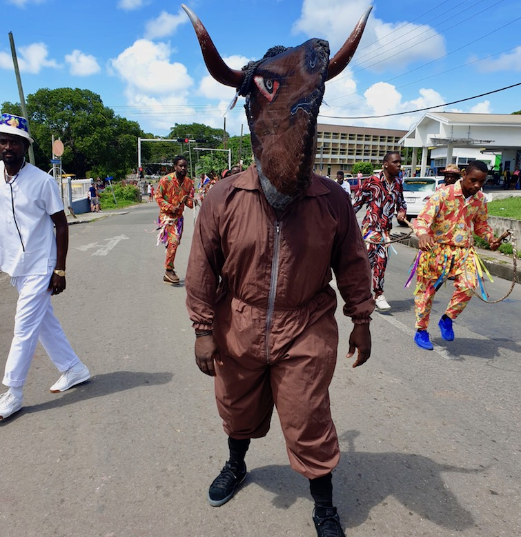 Bull with St Kitts masqueraders at Antigua Carnival.