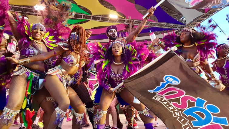 Insane Carnival Mas Band on stage at Antigua Carnival 2019.