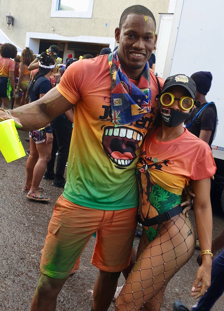 Young couple at Antigua Carnival J'ouvert Morning.
