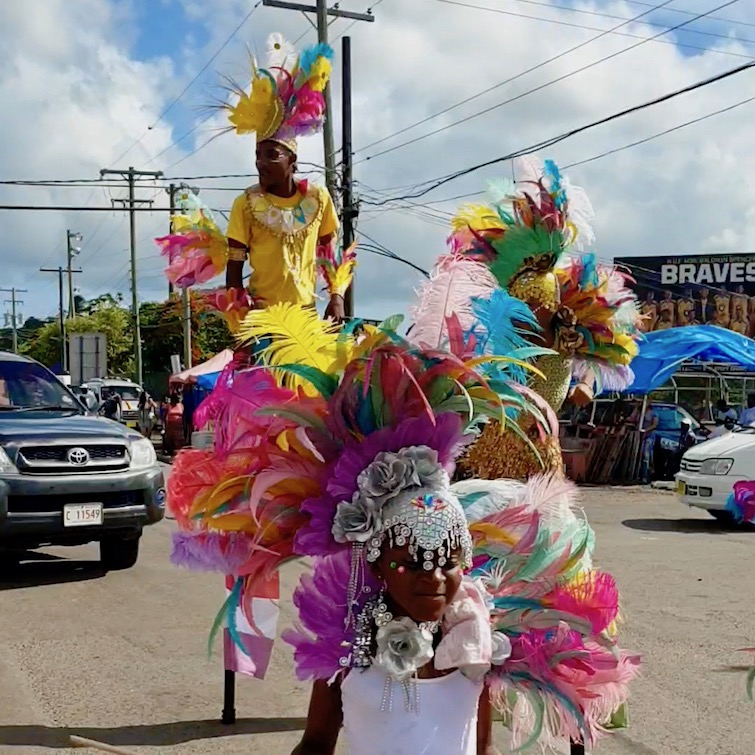 Young stilt walkers at Antigua Carnival 2019.