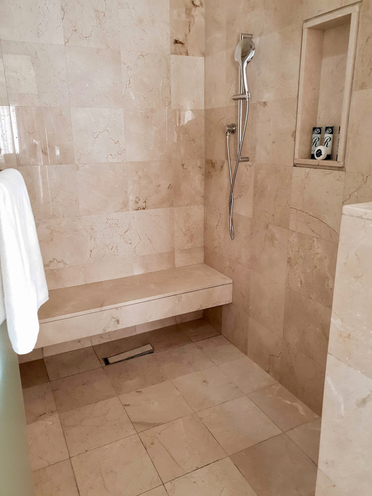Shower in Diamond Club room 8401 at Royalton Saint Lucia Resort & Spa.