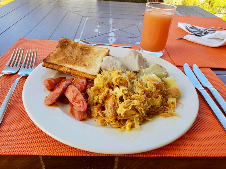 Saltfish Breakfast at Gourmet Marche at Royalton Saint Lucia Resort & Spa.