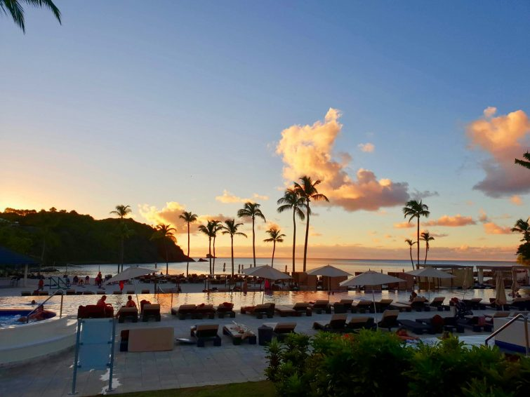 Watching the sunset near main pool and beach at Royalton Saint Lucia Resort & Spa.