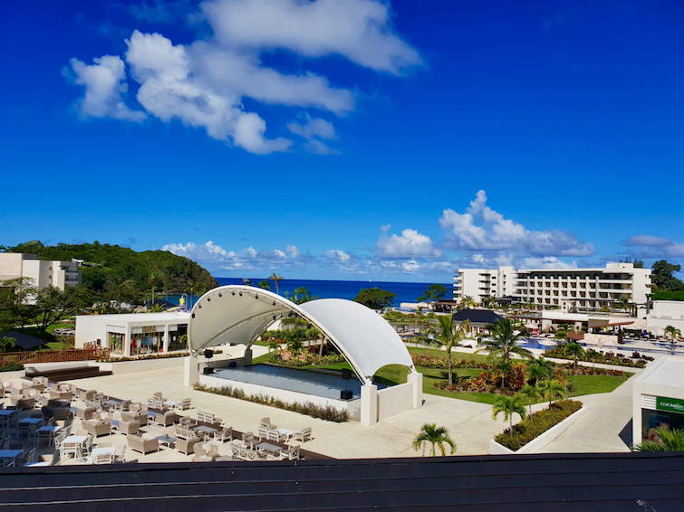 View of theatre, pools and beach at Royalton Saint Lucia Resort & Spa.