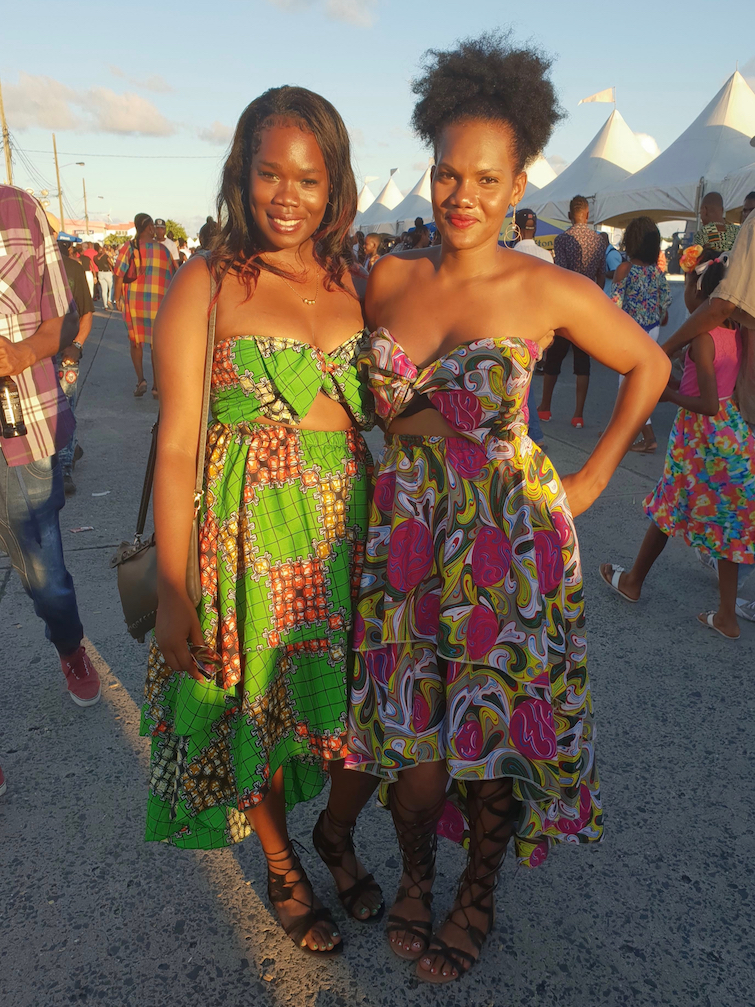 Two young women wearing African prints at Creole Day in St Lucia.
