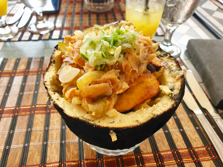 Boul Joul aka Roast Breadfruit Bowl from the Grenadine House in Saint Vincent & The Grenadines.