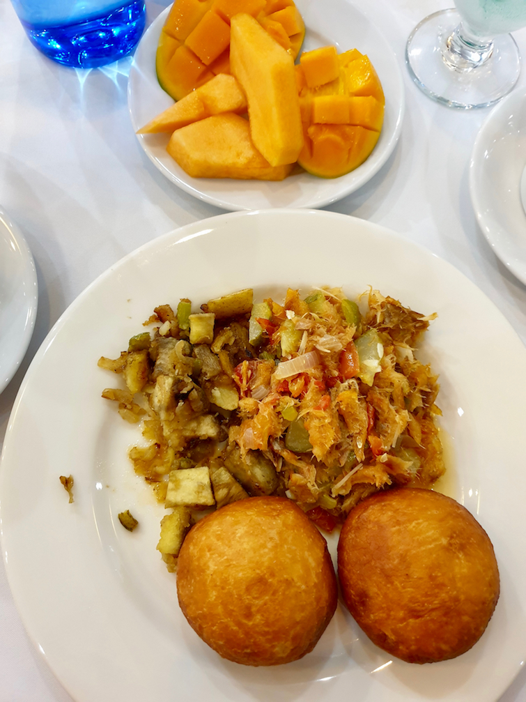 Saltfish and johnny cakes from Beachcombers Hotel in St Vincent & The Grenadines.