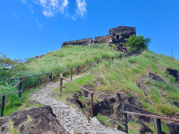 Hiking up to Fort Rodney at Pigeon Island National Landmark in St Lucia.