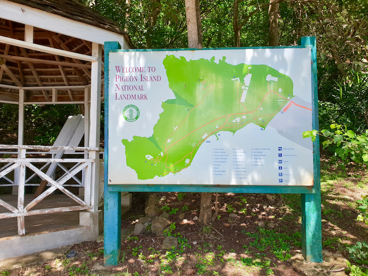 Map of Pigeon Island National Landmark in St Lucia.