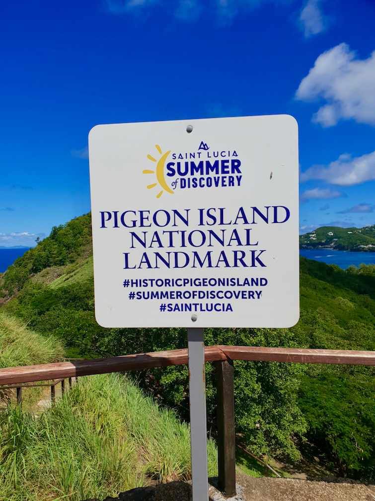 Saint Lucia Summer of Discovery sign at Pigeon Island National Landmark.