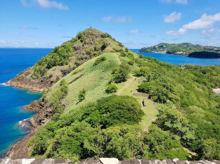 View of Signal Park at Pigeon Island National Landmark in St Lucia.