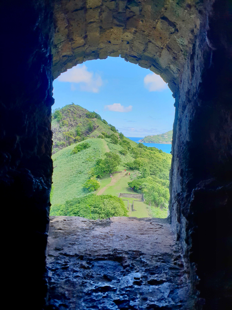 View of Signal Peak from Fort Rodney Bunker at Pigeon Island National Landmark in St Lucia.