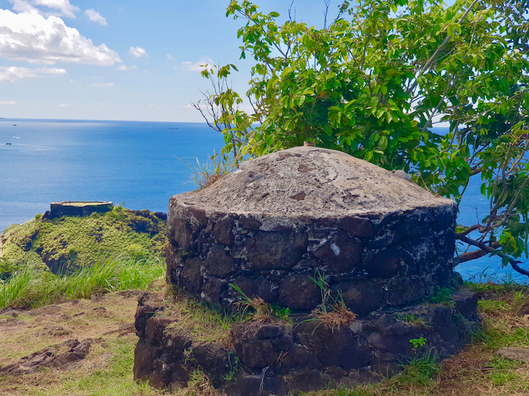 View top of Signal Park looking at Fort Rodney in Pigeon Island National Landmark in St Lucia.