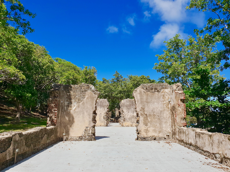 Walking through the Soldiers Barracks at Pigeon Island National Landmark in St Lucia.