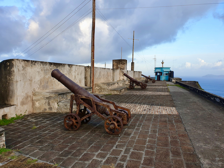 Cannons at Fort Charlotte pointed towards Kingstown in St Vincent.