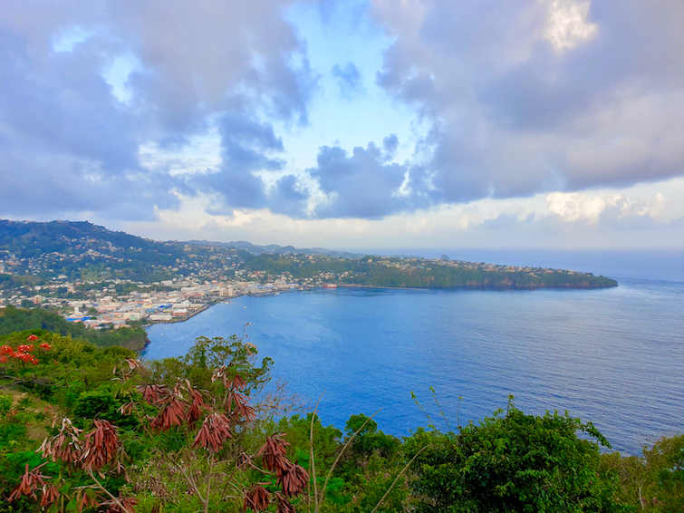 Early evening view of Kingstown from Fort Charlotte in St Vincent.
