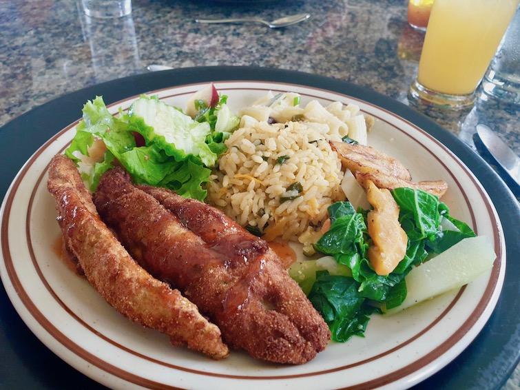 Fish lunch from Cobblestone Inn Restaurant & Roof Bar in Kingstown, St Vincent.