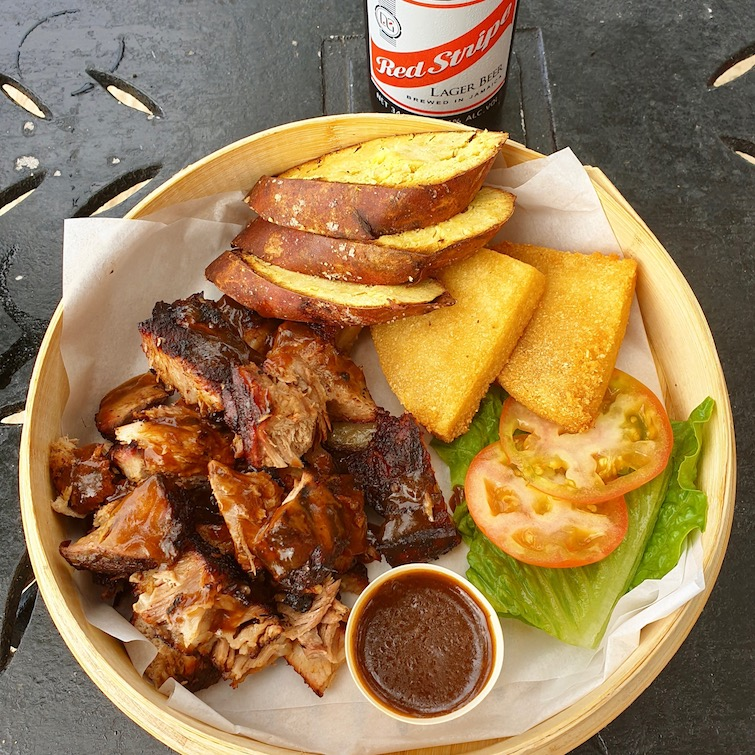 Jerk pork lunch from Moonchies seaside grill at Half Moon Resort Jamaica.