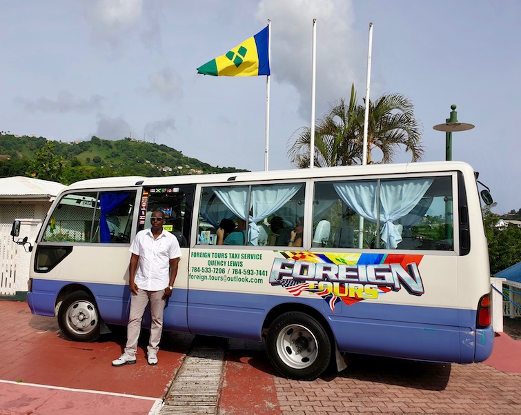 Quency Lewis at Foreign Tours Taxi Service in St Vincent.