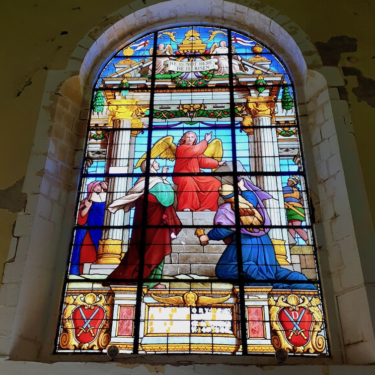 Stained glass window at St George's Cathedral in St Vincent.