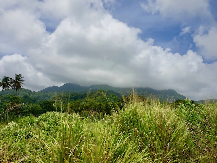 View of La Soufriere volcano from Windward Highway in St Vincent.