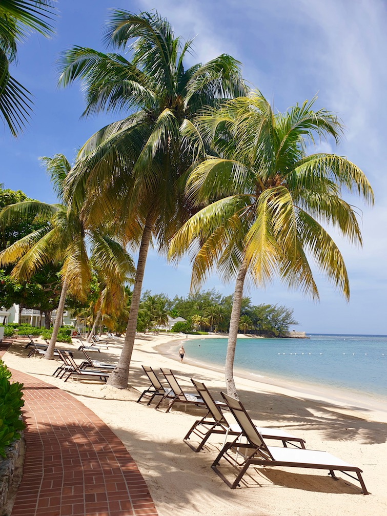Partial view of Sunset Beach, Half Moon resort in Jamaica.