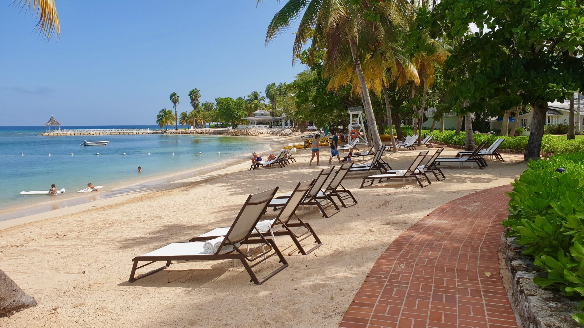 Partial view of Sunset Beach at Half Moon resort in Jamaica.