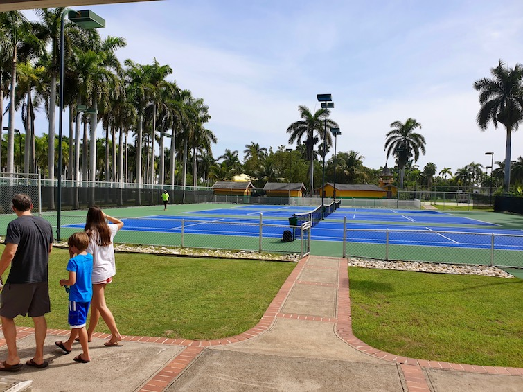 Tennis courts at Half Moon resort in Jamaica.