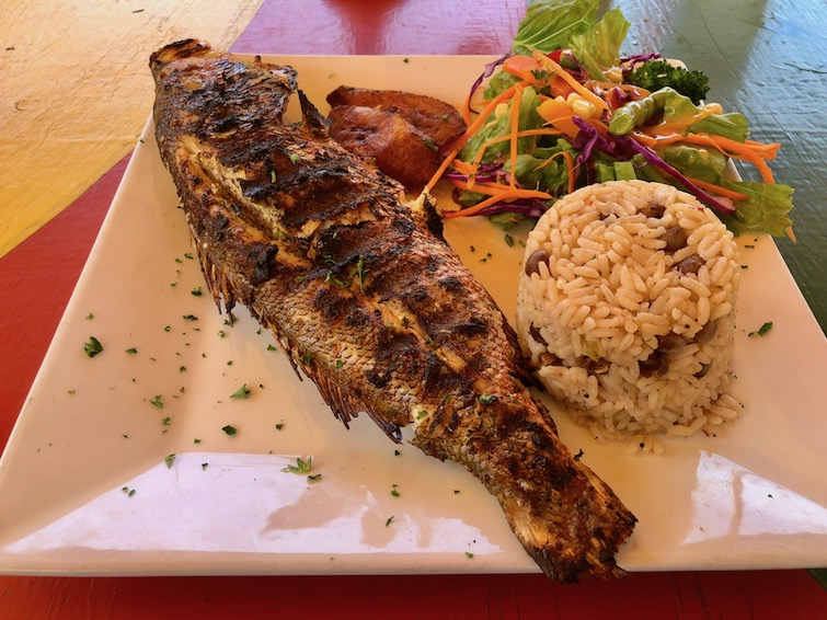 Fish lunch from Sunshine's Beach Bar & Grill.