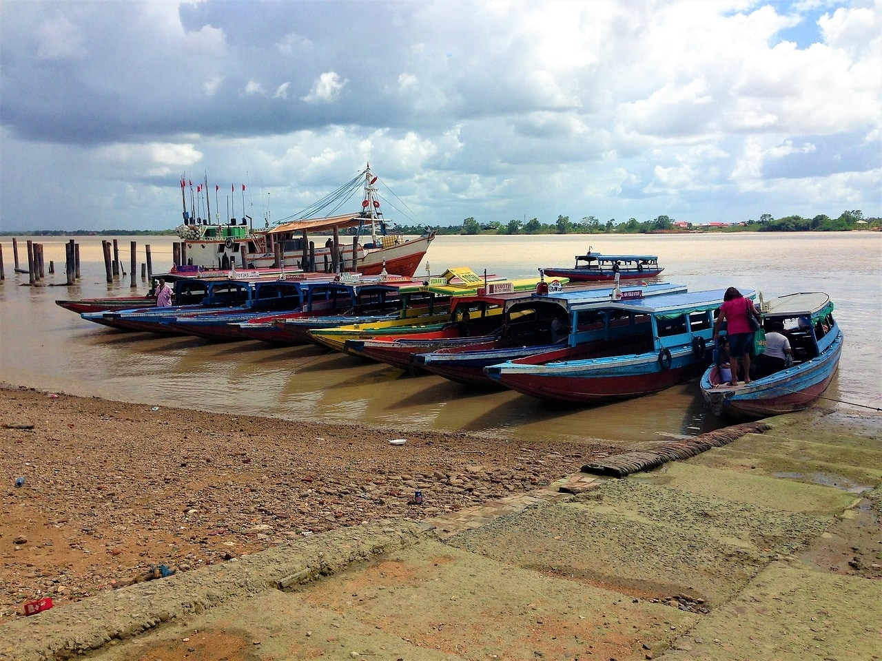 Boats on the water in Suriname