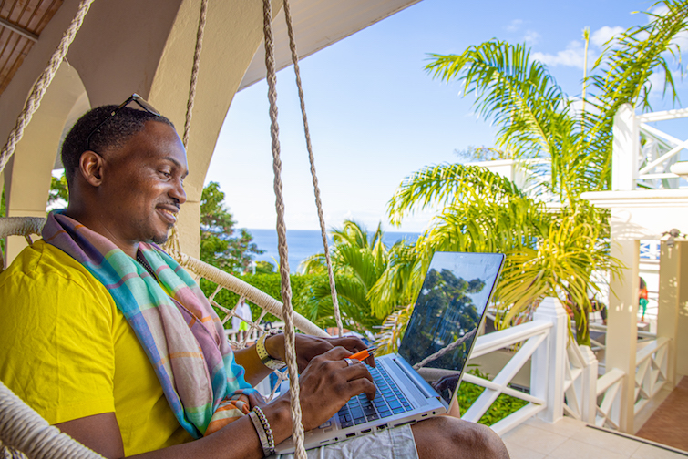 Gary Morton working remotely on Caribbean Island of Montserrat.