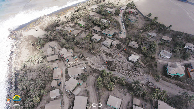 Aerial shot of part of the Sandy Bay village in Saint Vincent after volcanic eruption. Photo Credit: © Javid Collins, UWITV.