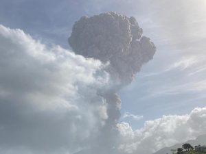 View of La Soufrière volcano erupting in Saint Vincent on April 9th 2021. Photo Credit: © UWI Seismic Research Centre.