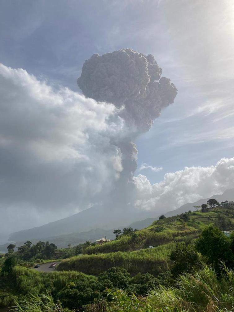 View of La Soufrière volcano erupting in Saint Vincent on April 9th 2021. Photo Credit: © UWI Seismic Research Centre.