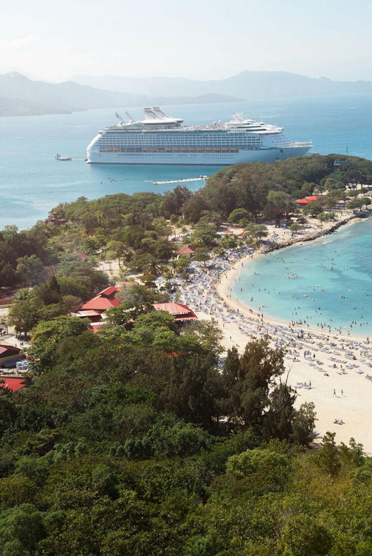 Aerial view of cruise ship and beach on labadee island in Haiti. Photo Credit: © dimarik16 via 123RF.com.