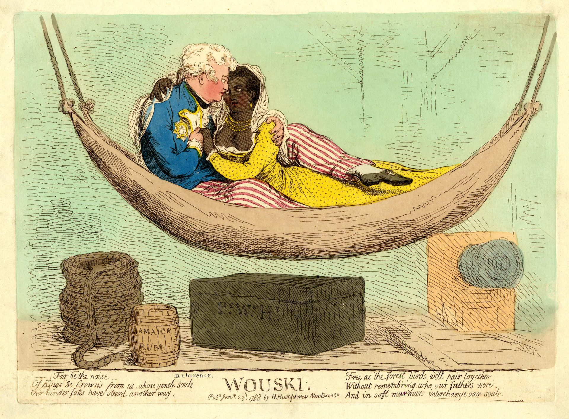 Hand colored etching of King William IV and a Black woman by British caricaturist James Gillray. Photo Credit: © National Portrait Gallery, London.
