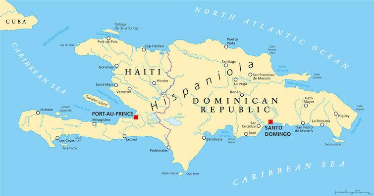 Hispaniola political map with Haiti and Dominican Republic. Photo Credit: © Peter Hermes Furian via 123RF.com.