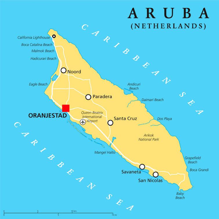 Aruba Political Map with capital Oranjestad and important cities. Photo Credit: © Peter Hermes Furian via 123RF.com.