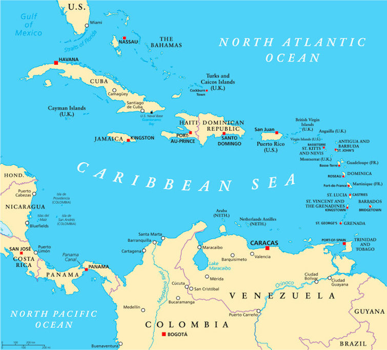 Caribbean political map with capitals, national borders, important cities rivers, and lakes. Photo Credit: © Peter Hermes Furian via 123RF.com.